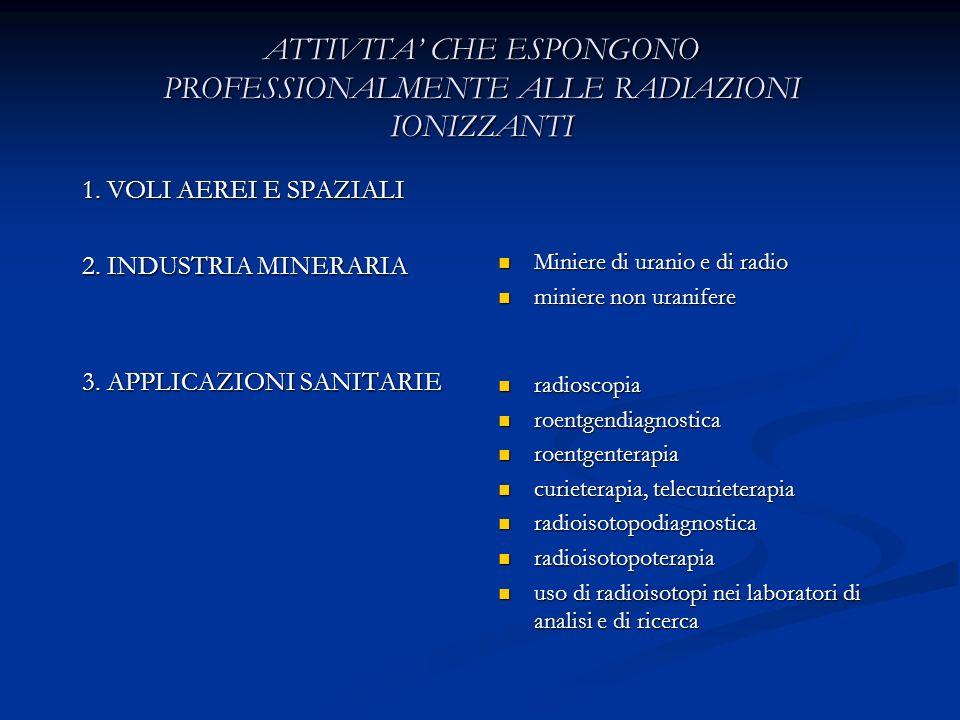 ATTIVITA CHE ESPONGONO PROFESSIONALMENTE ALLE RADIAZIONI IONIZZANTI 1. VOLI AEREI E SPAZIALI 2. INDUSTRIA MINERARIA 3. APPLICAZIONI SANITARIE Miniere