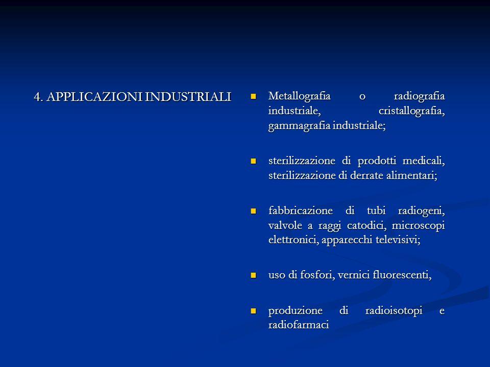 4. APPLICAZIONI INDUSTRIALI Metallografia o radiografia industriale, cristallografia, gammagrafia industriale; sterilizzazione di prodotti medicali, s