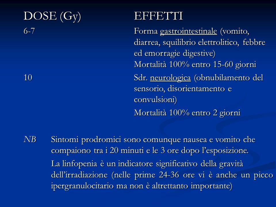 DOSE (Gy)EFFETTI 6-7Forma gastrointestinale (vomito, diarrea, squilibrio elettrolitico, febbre ed emorragie digestive) Mortalità 100% entro 15-60 gior