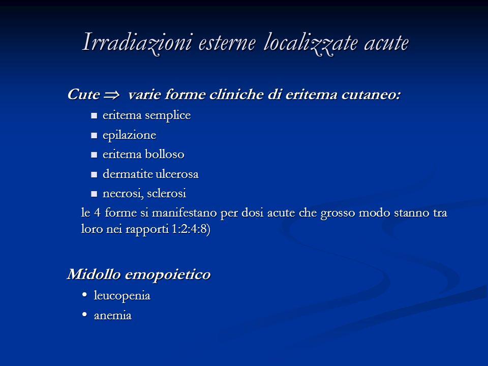 Irradiazioni esterne localizzate acute Cute varie forme cliniche di eritema cutaneo: eritema semplice eritema semplice epilazione epilazione eritema b