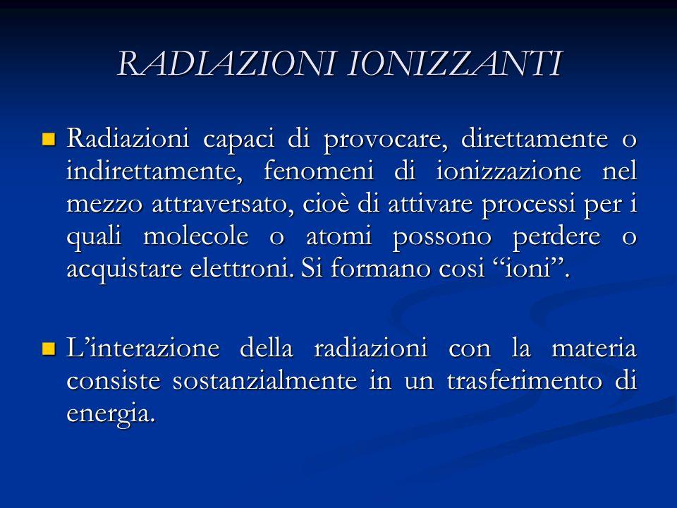 RADIAZIONI IONIZZANTI Radiazioni capaci di provocare, direttamente o indirettamente, fenomeni di ionizzazione nel mezzo attraversato, cioè di attivare