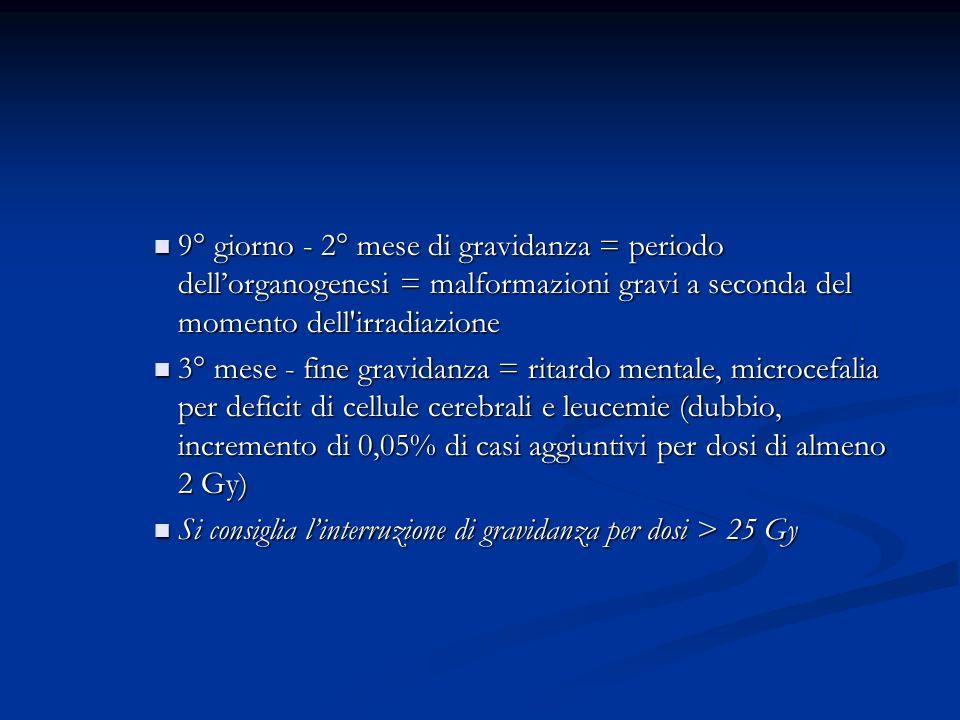 9° giorno - 2° mese di gravidanza = periodo dellorganogenesi = malformazioni gravi a seconda del momento dell'irradiazione 9° giorno - 2° mese di grav