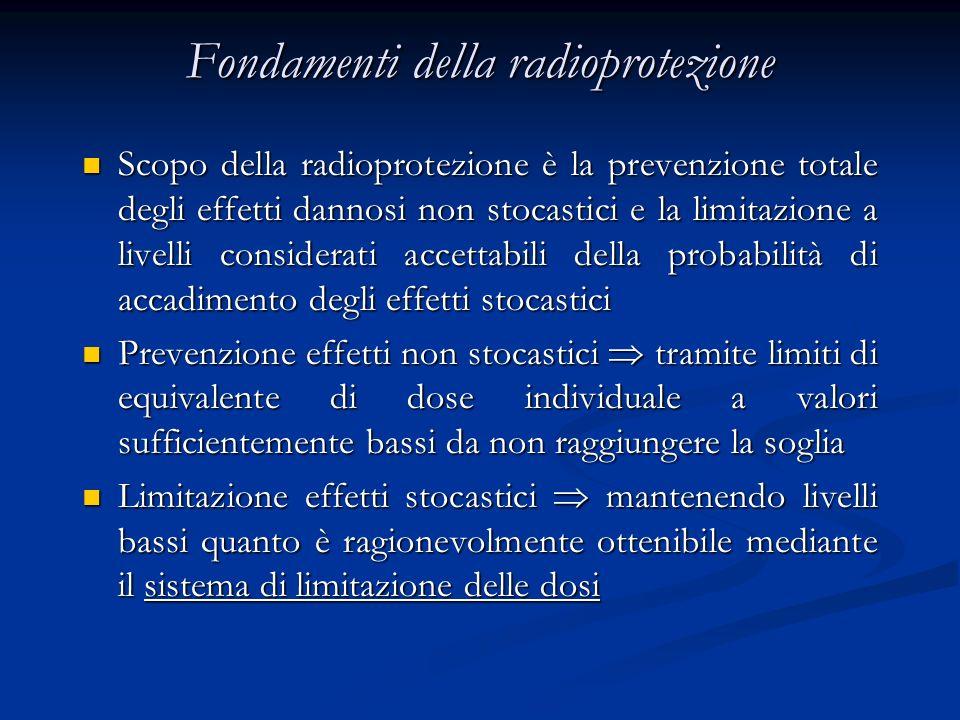 Fondamenti della radioprotezione Scopo della radioprotezione è la prevenzione totale degli effetti dannosi non stocastici e la limitazione a livelli c