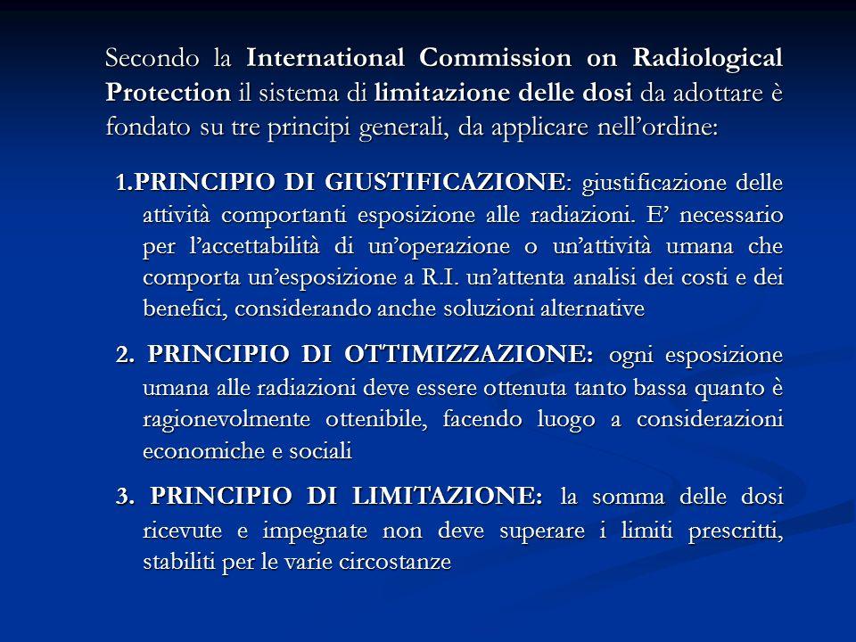 Secondo la International Commission on Radiological Protection il sistema di limitazione delle dosi da adottare è fondato su tre principi generali, da