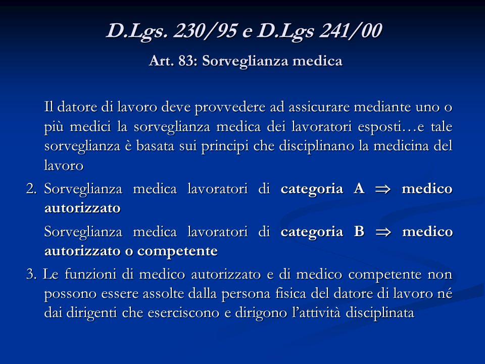 D.Lgs. 230/95 e D.Lgs 241/00 Art. 83: Sorveglianza medica Il datore di lavoro deve provvedere ad assicurare mediante uno o più medici la sorveglianza