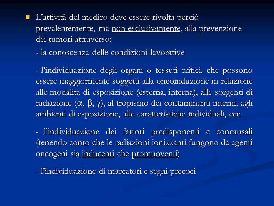 Lattività del medico deve essere rivolta perciò prevalentemente, ma non esclusivamente, alla prevenzione dei tumori attraverso: Lattività del medico d