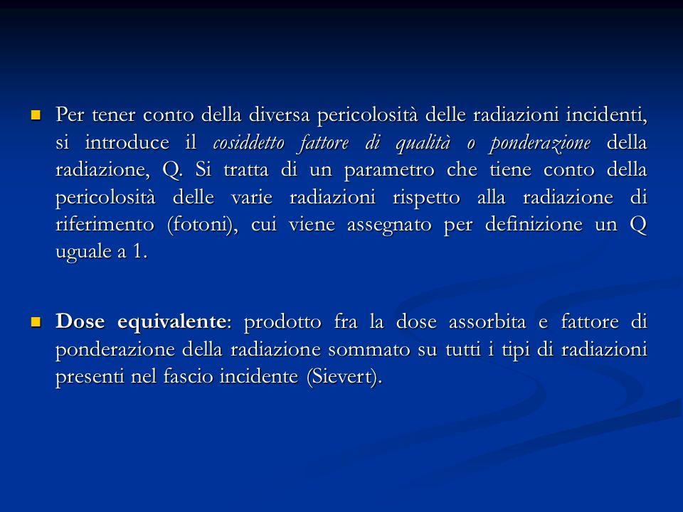 Per tener conto della diversa pericolosità delle radiazioni incidenti, si introduce il cosiddetto fattore di qualità o ponderazione della radiazione,