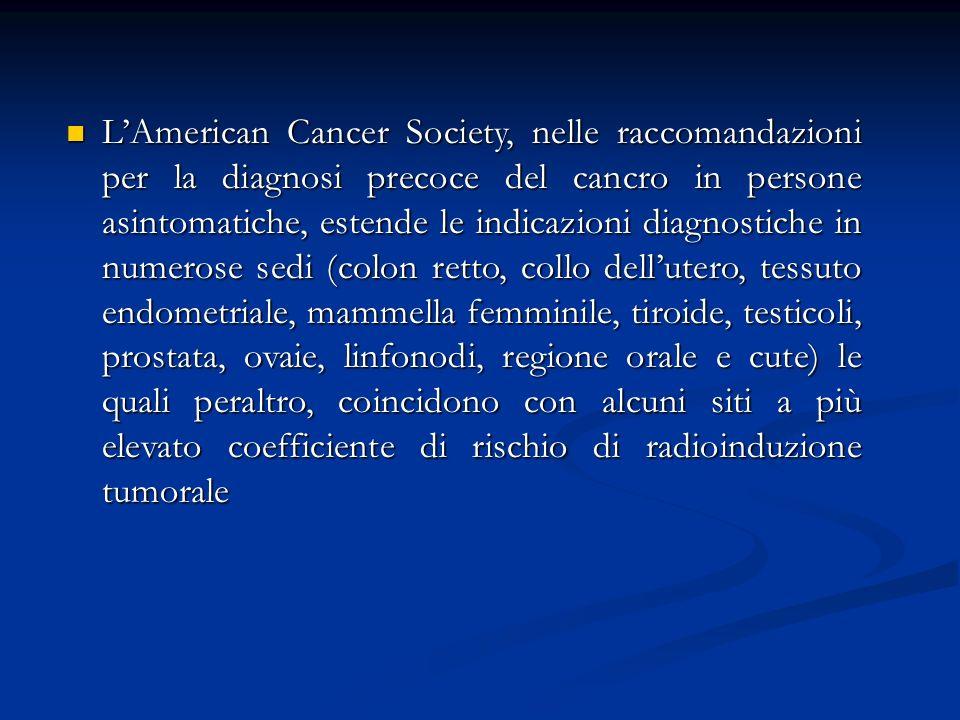 LAmerican Cancer Society, nelle raccomandazioni per la diagnosi precoce del cancro in persone asintomatiche, estende le indicazioni diagnostiche in nu