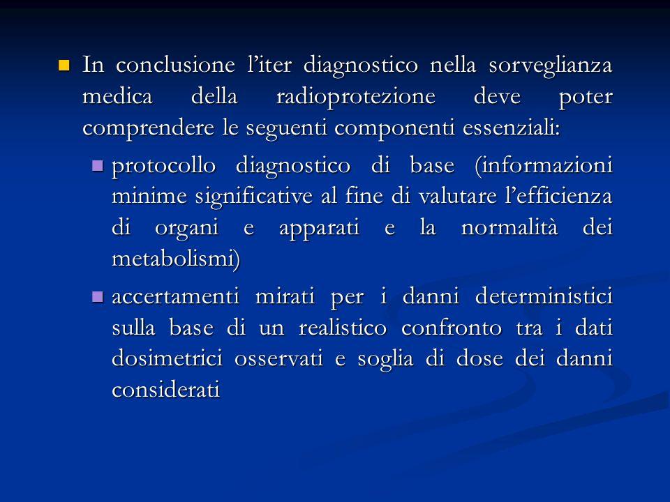 In conclusione liter diagnostico nella sorveglianza medica della radioprotezione deve poter comprendere le seguenti componenti essenziali: In conclusi
