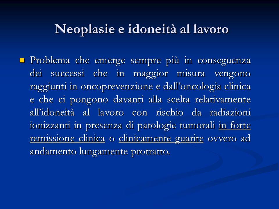 Neoplasie e idoneità al lavoro Problema che emerge sempre più in conseguenza dei successi che in maggior misura vengono raggiunti in oncoprevenzione e