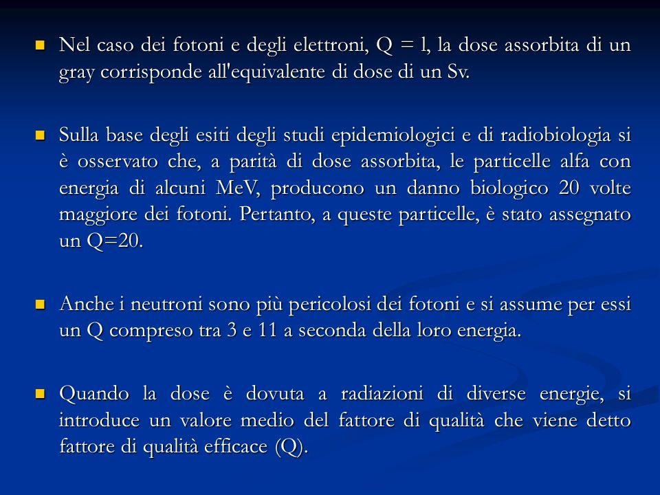 Nel caso dei fotoni e degli elettroni, Q = l, la dose assorbita di un gray corrisponde all'equivalente di dose di un Sv. Nel caso dei fotoni e degli e