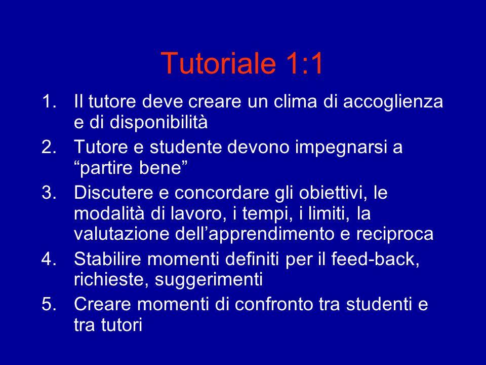 Tutoriale 1:1 1.Il tutore deve creare un clima di accoglienza e di disponibilità 2.Tutore e studente devono impegnarsi a partire bene 3.Discutere e co