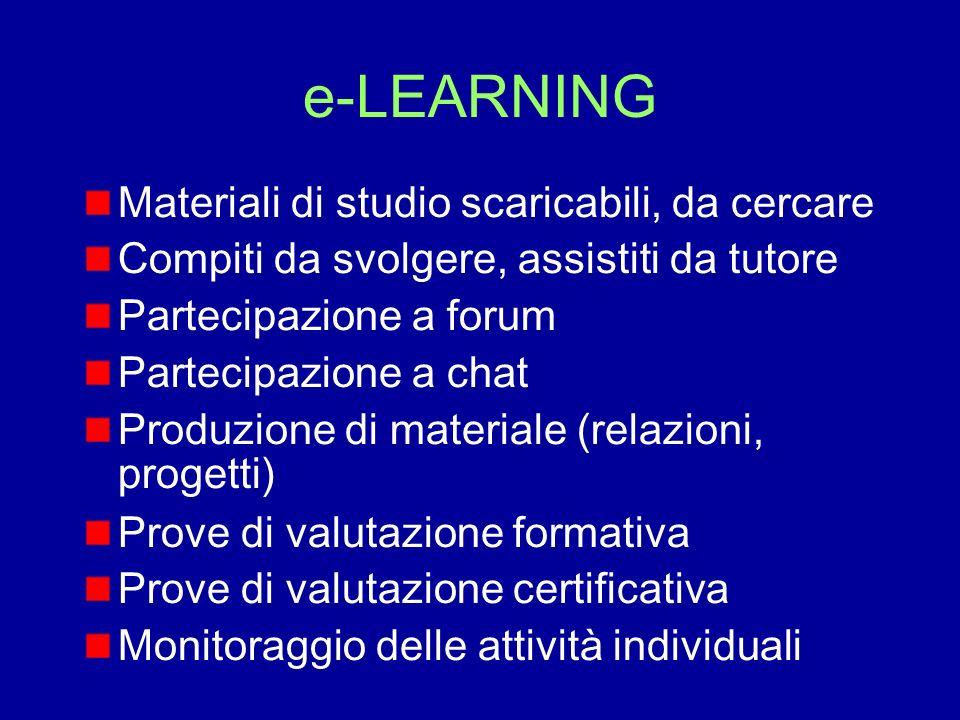 e-LEARNING Materiali di studio scaricabili, da cercare Compiti da svolgere, assistiti da tutore Partecipazione a forum Partecipazione a chat Produzion