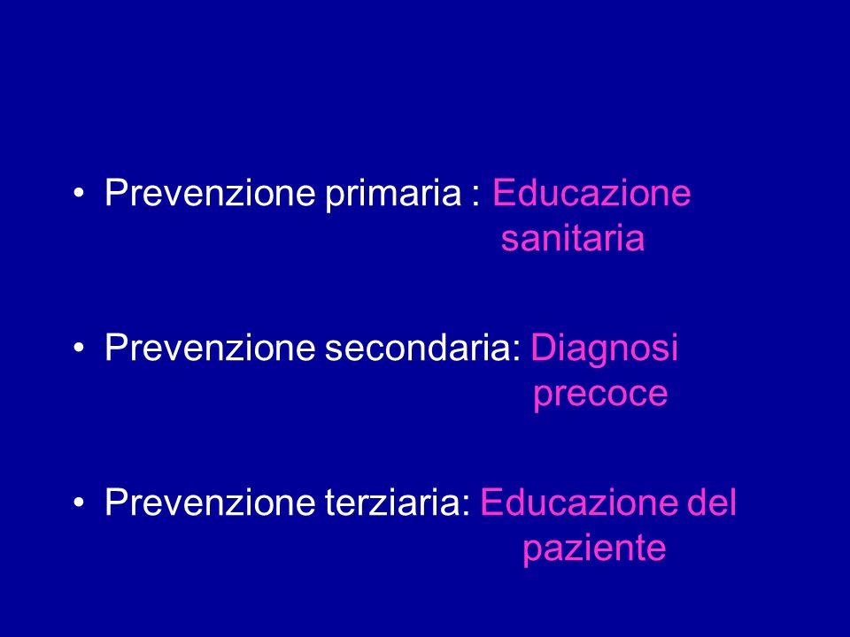 Prevenzione primaria : Educazione sanitaria Prevenzione secondaria: Diagnosi precoce Prevenzione terziaria: Educazione del paziente