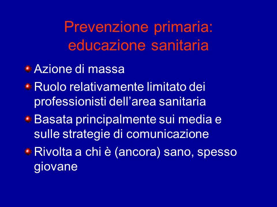 Prevenzione primaria: educazione sanitaria Azione di massa Ruolo relativamente limitato dei professionisti dellarea sanitaria Basata principalmente su