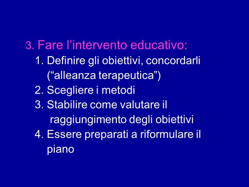 3. Fare lintervento educativo: 1. Definire gli obiettivi, concordarli (alleanza terapeutica) 2. Scegliere i metodi 3. Stabilire come valutare il raggi