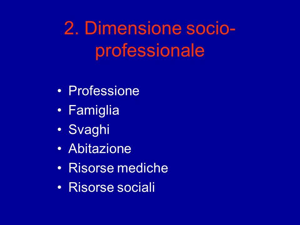 2. Dimensione socio- professionale Professione Famiglia Svaghi Abitazione Risorse mediche Risorse sociali