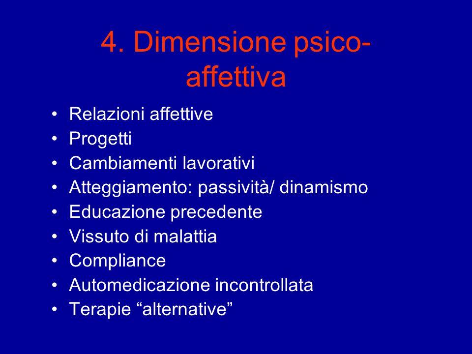4. Dimensione psico- affettiva Relazioni affettive Progetti Cambiamenti lavorativi Atteggiamento: passività/ dinamismo Educazione precedente Vissuto d