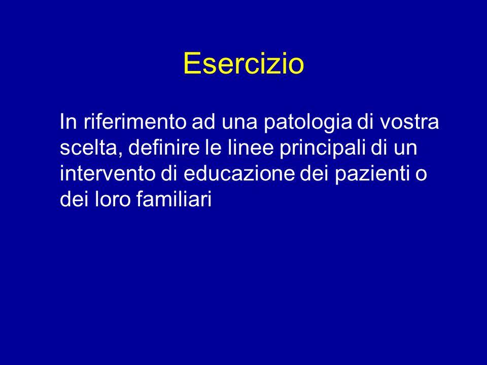 Esercizio In riferimento ad una patologia di vostra scelta, definire le linee principali di un intervento di educazione dei pazienti o dei loro famili