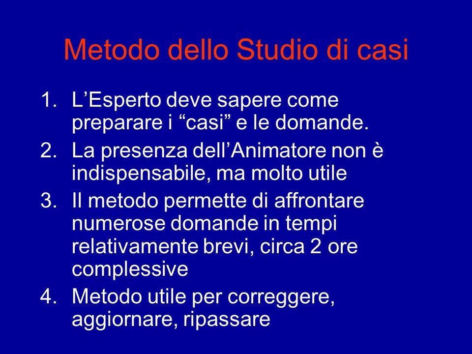 Metodo dello Studio di casi 1.LEsperto deve sapere come preparare i casi e le domande. 2.La presenza dellAnimatore non è indispensabile, ma molto util