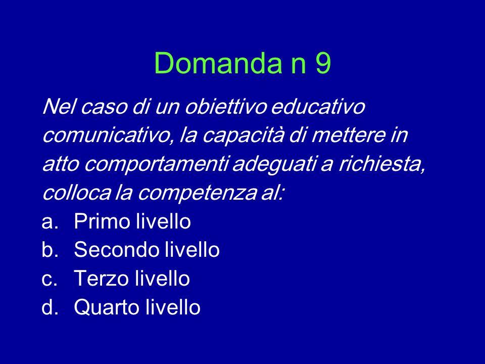Domanda n 9 Nel caso di un obiettivo educativo comunicativo, la capacità di mettere in atto comportamenti adeguati a richiesta, colloca la competenza