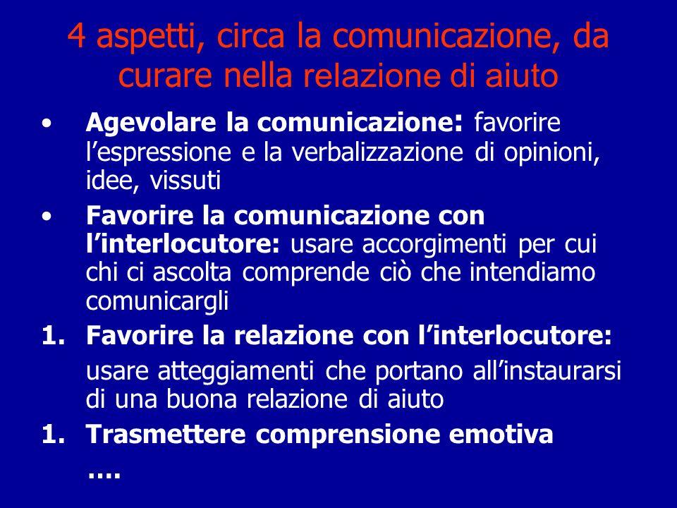 4 aspetti, circa la comunicazione, da curare nella relazione di aiuto Agevolare la comunicazione : favorire lespressione e la verbalizzazione di opini