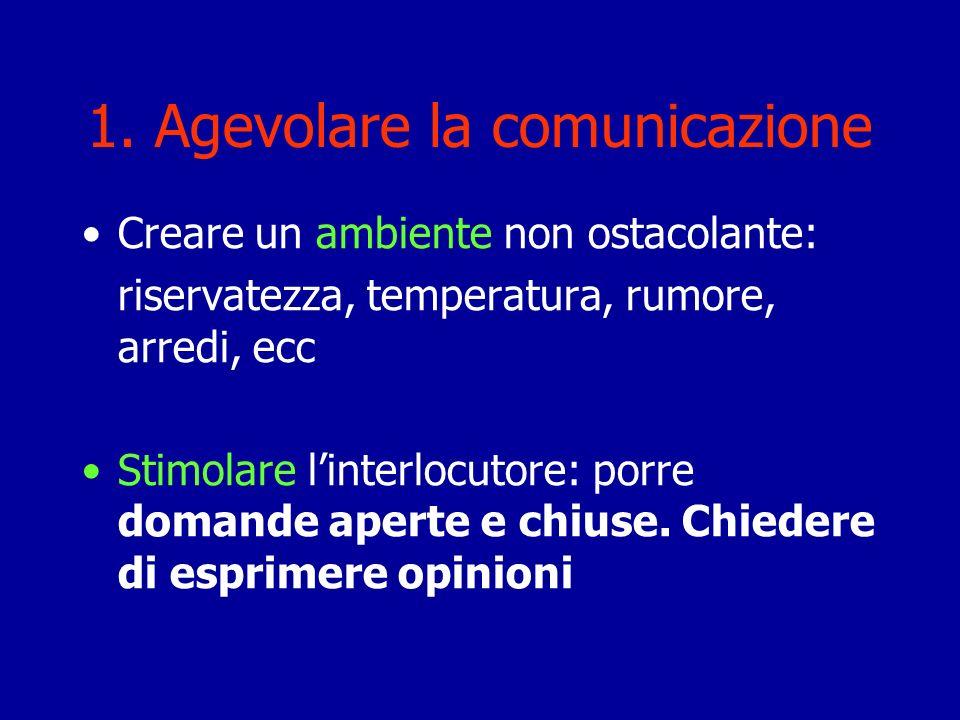 1. Agevolare la comunicazione Creare un ambiente non ostacolante: riservatezza, temperatura, rumore, arredi, ecc Stimolare linterlocutore: porre doman