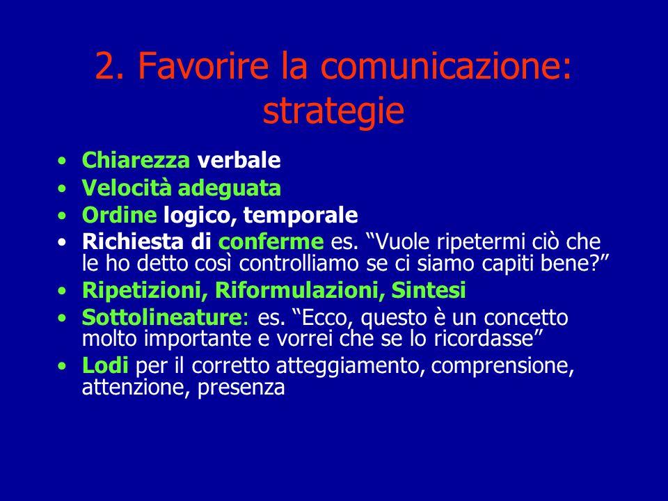 2. Favorire la comunicazione: strategie Chiarezza verbale Velocità adeguata Ordine logico, temporale Richiesta di conferme es. Vuole ripetermi ciò che
