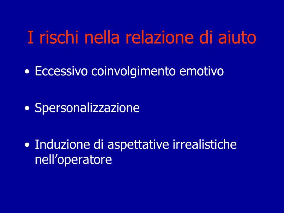 I rischi nella relazione di aiuto Eccessivo coinvolgimento emotivo Spersonalizzazione Induzione di aspettative irrealistiche nelloperatore