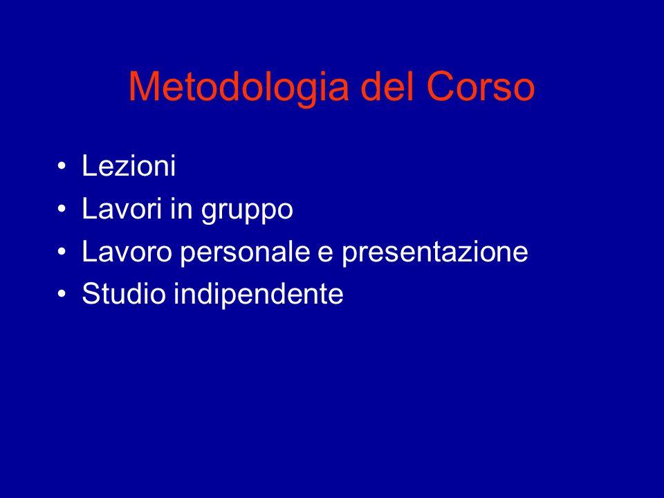 Metodologia del Corso Lezioni Lavori in gruppo Lavoro personale e presentazione Studio indipendente