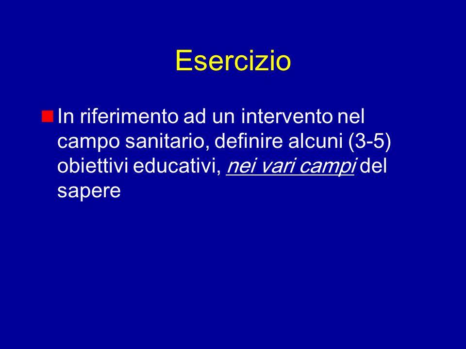 Esercizio In riferimento ad un intervento nel campo sanitario, definire alcuni (3-5) obiettivi educativi, nei vari campi del sapere