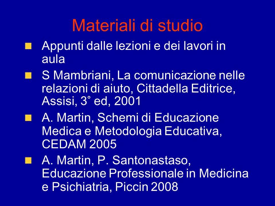 Materiali di studio Appunti dalle lezioni e dei lavori in aula S Mambriani, La comunicazione nelle relazioni di aiuto, Cittadella Editrice, Assisi, 3°