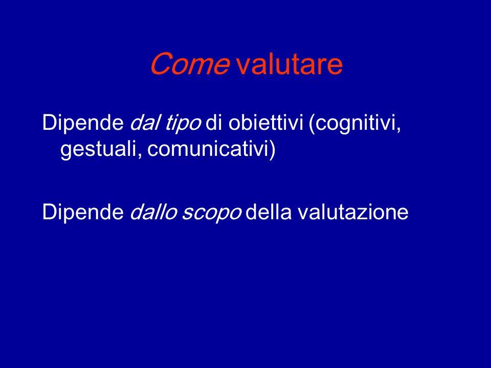 Come valutare Dipende dal tipo di obiettivi (cognitivi, gestuali, comunicativi) Dipende dallo scopo della valutazione
