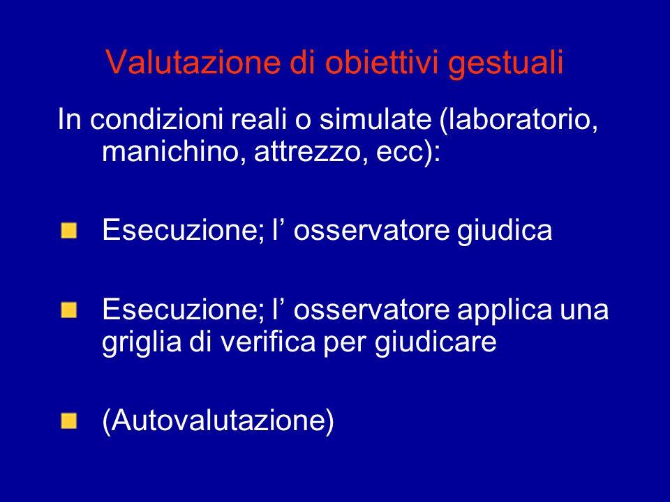 Valutazione di obiettivi gestuali In condizioni reali o simulate (laboratorio, manichino, attrezzo, ecc): Esecuzione; l osservatore giudica Esecuzione