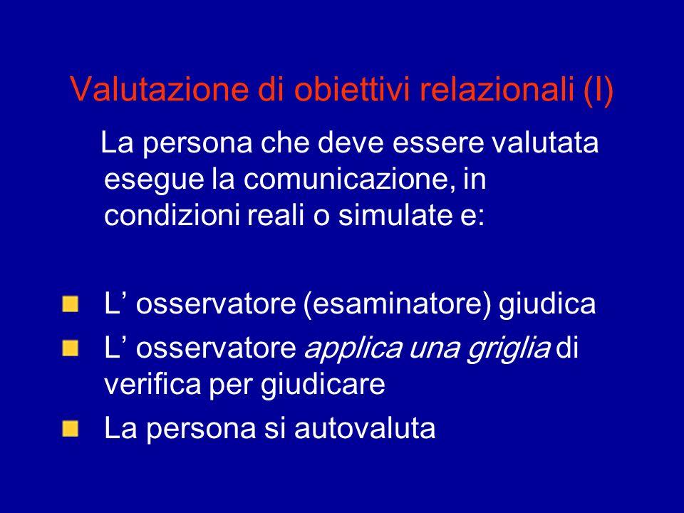 Valutazione di obiettivi relazionali (I) La persona che deve essere valutata esegue la comunicazione, in condizioni reali o simulate e: L osservatore