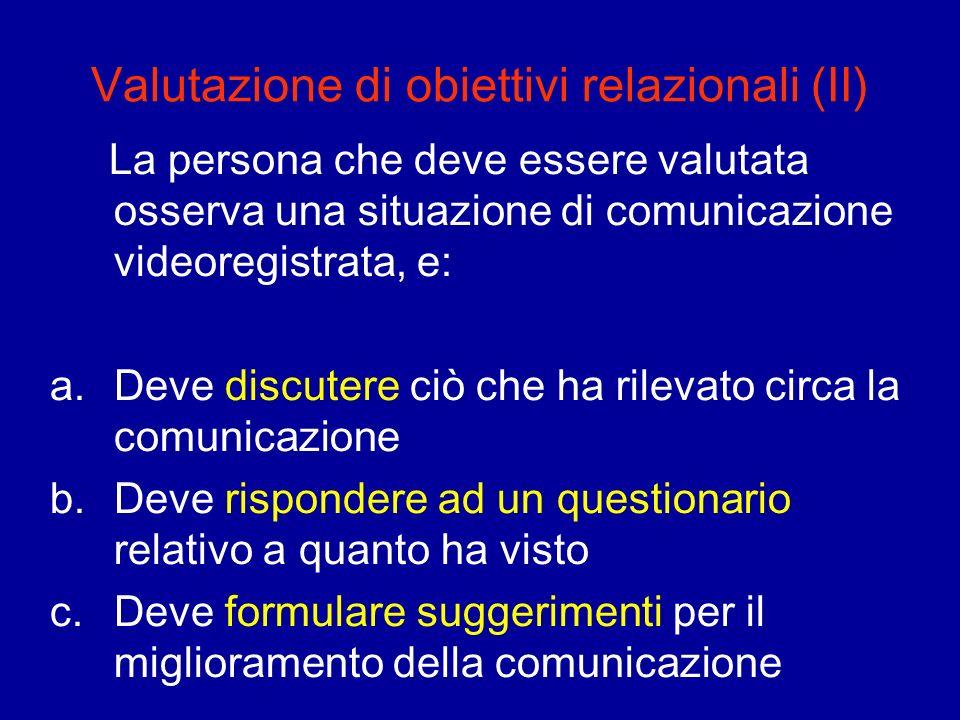 Valutazione di obiettivi relazionali (II) La persona che deve essere valutata osserva una situazione di comunicazione videoregistrata, e: a.Deve discu