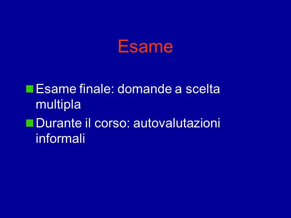 Esame Esame finale: domande a scelta multipla Durante il corso: autovalutazioni informali