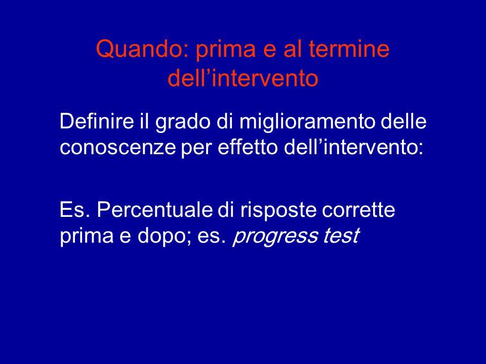 Quando: prima e al termine dellintervento Definire il grado di miglioramento delle conoscenze per effetto dellintervento: Es. Percentuale di risposte