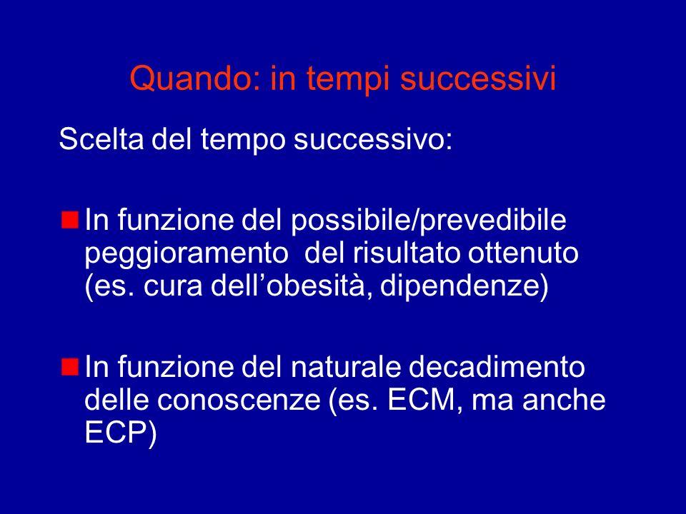 Quando: in tempi successivi Scelta del tempo successivo: In funzione del possibile/prevedibile peggioramento del risultato ottenuto (es. cura dellobes