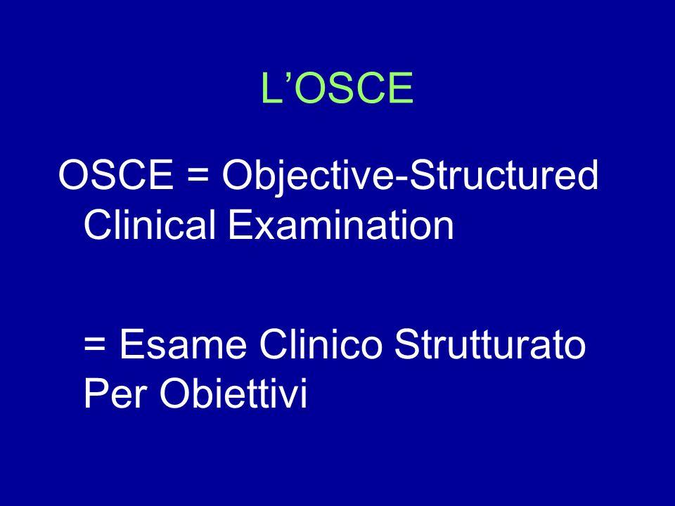 LOSCE OSCE = Objective-Structured Clinical Examination = Esame Clinico Strutturato Per Obiettivi