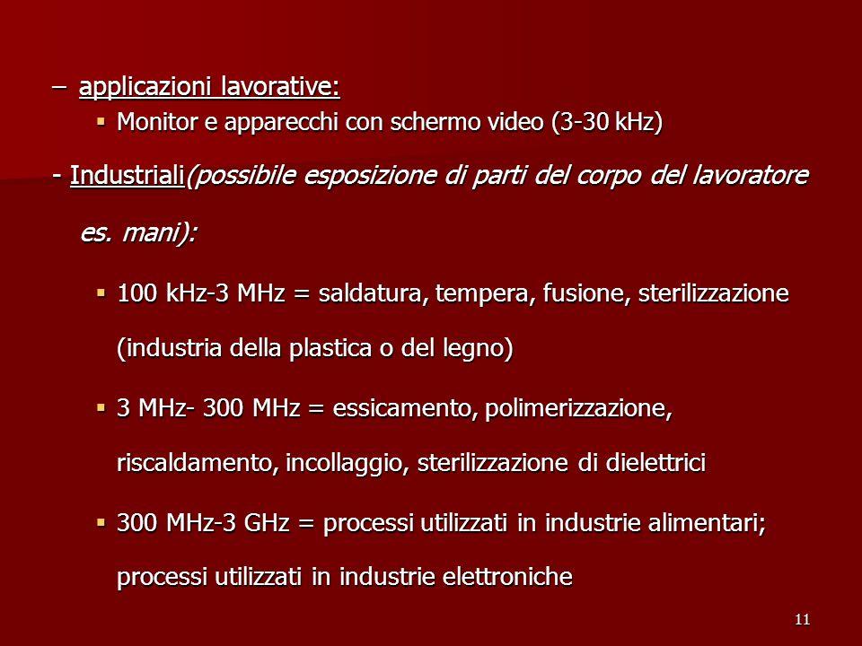 11 –applicazioni lavorative: Monitor e apparecchi con schermo video (3-30 kHz) Monitor e apparecchi con schermo video (3-30 kHz) - Industriali(possibi