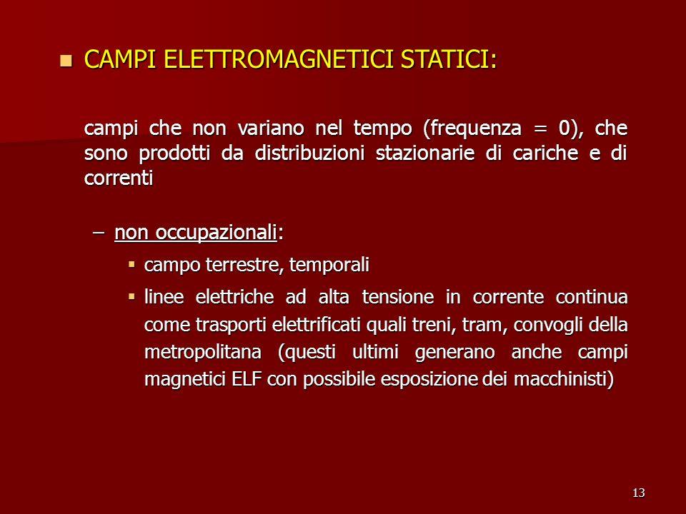 13 CAMPI ELETTROMAGNETICI STATICI: CAMPI ELETTROMAGNETICI STATICI: campi che non variano nel tempo (frequenza = 0), che sono prodotti da distribuzioni