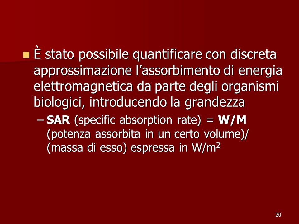 20 È stato possibile quantificare con discreta approssimazione lassorbimento di energia elettromagnetica da parte degli organismi biologici, introduce