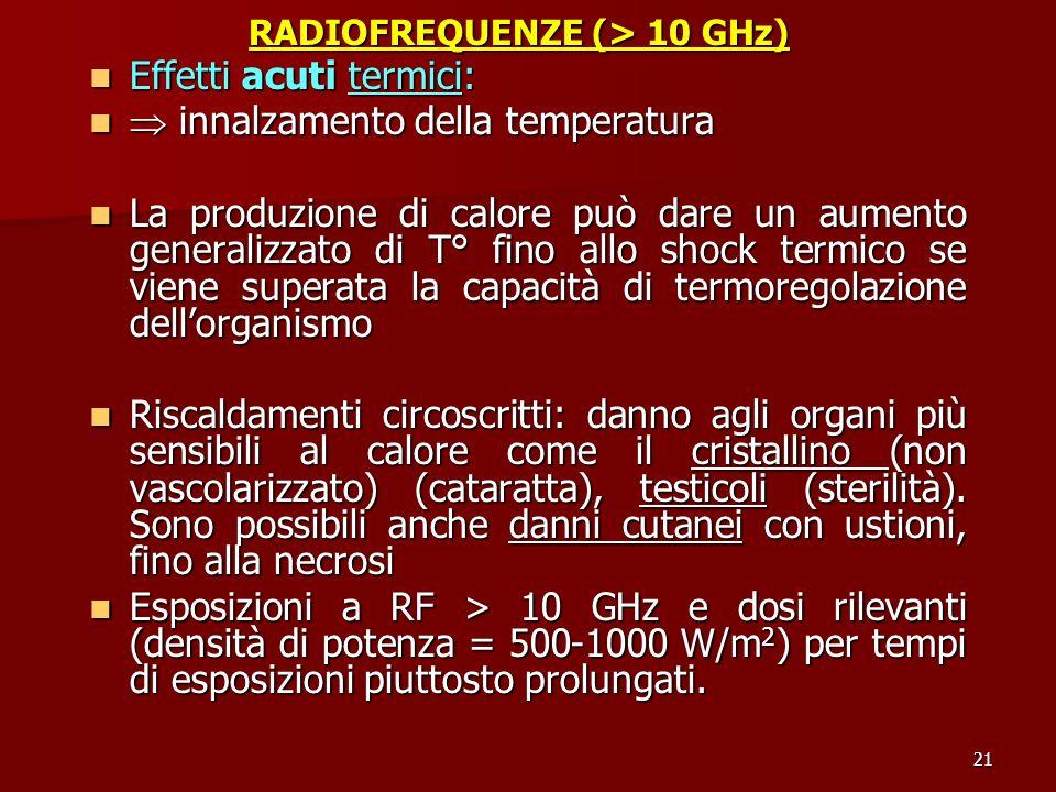 21 RADIOFREQUENZE (> 10 GHz) Effetti acuti termici: Effetti acuti termici: innalzamento della temperatura innalzamento della temperatura La produzione