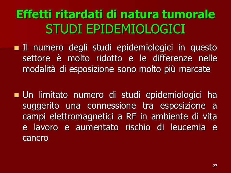 27 Effetti ritardati di natura tumorale STUDI EPIDEMIOLOGICI Il numero degli studi epidemiologici in questo settore è molto ridotto e le differenze ne