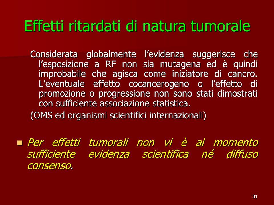 31 Effetti ritardati di natura tumorale Considerata globalmente levidenza suggerisce che lesposizione a RF non sia mutagena ed è quindi improbabile ch