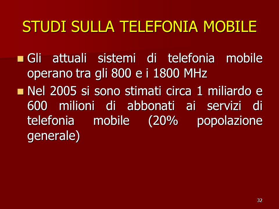32 STUDI SULLA TELEFONIA MOBILE Gli attuali sistemi di telefonia mobile operano tra gli 800 e i 1800 MHz Gli attuali sistemi di telefonia mobile opera