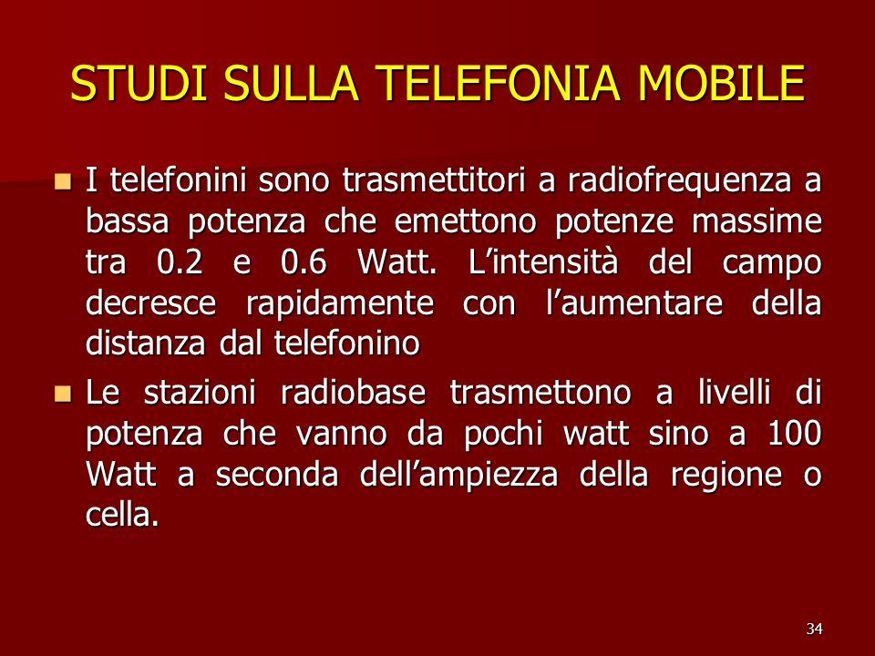 34 STUDI SULLA TELEFONIA MOBILE I telefonini sono trasmettitori a radiofrequenza a bassa potenza che emettono potenze massime tra 0.2 e 0.6 Watt. Lint