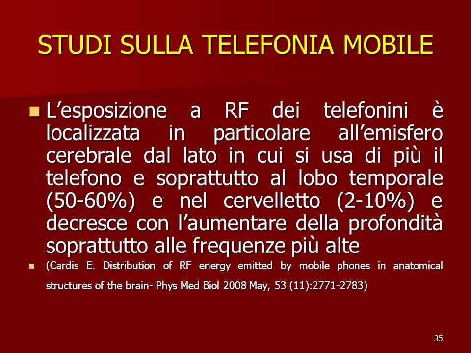 35 STUDI SULLA TELEFONIA MOBILE Lesposizione a RF dei telefonini è localizzata in particolare allemisfero cerebrale dal lato in cui si usa di più il t