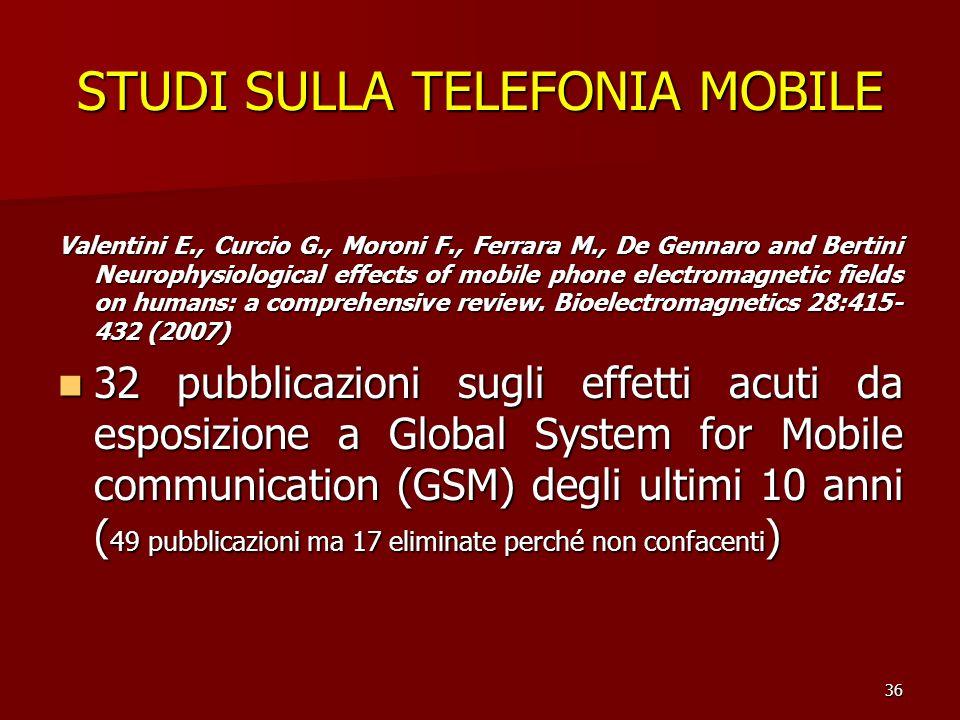36 STUDI SULLA TELEFONIA MOBILE Valentini E., Curcio G., Moroni F., Ferrara M., De Gennaro and Bertini Neurophysiological effects of mobile phone elec